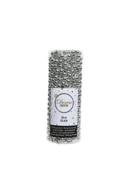Бусы пластиковые серебряные 8 мм, 10м