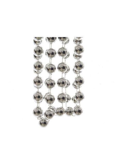 Бусы пластиковые серебряные 20 мм, 2.7 м