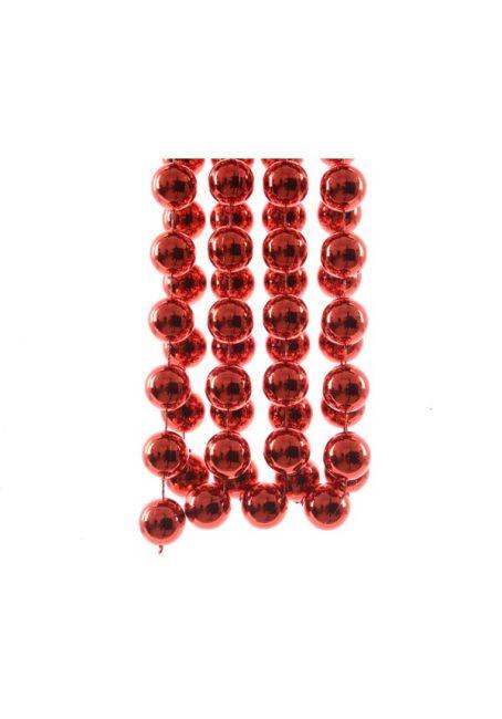 Бусы пластиковые красные 20 мм, 2.7 м
