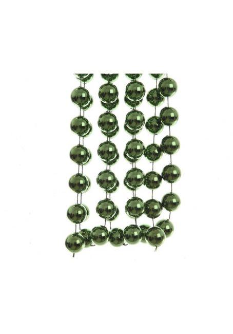 Бусы пластиковые зеленые 20 мм, 2.7 м