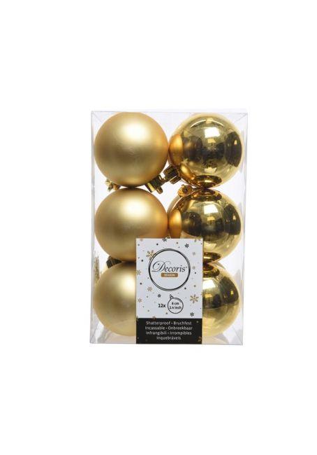 Набор пластиковых шаров золотые 6см, 12шт