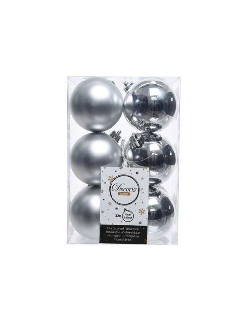 Набор пластиковых шаров серебряные 6см, 12шт