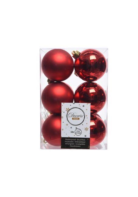 Набор пластиковых шаров красные 6 см, 12 шт