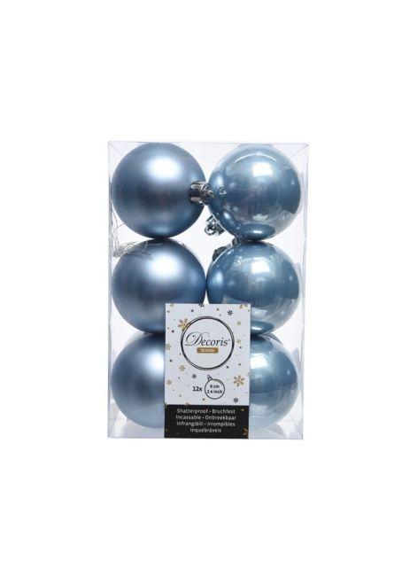 Набор пластиковых шаров голубые 6 см, 12 шт