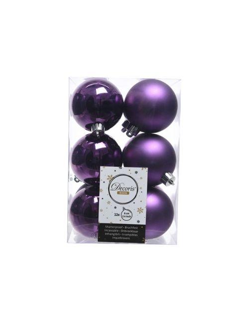 Набор пластиковых шаров фиолетовые 6 см, 12 шт