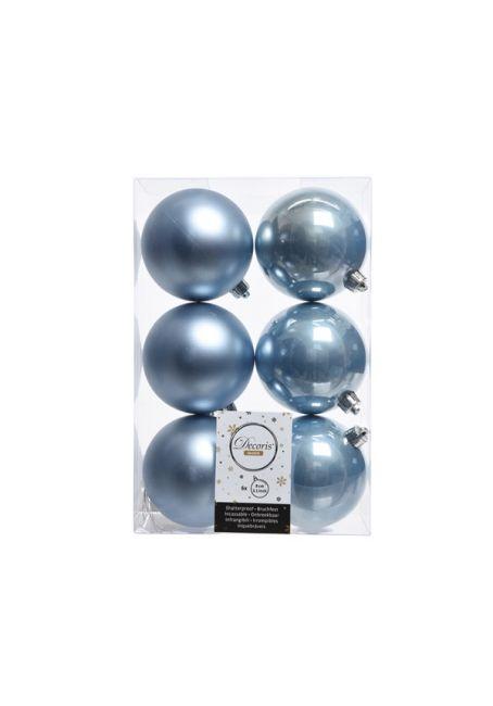 Набор пластиковых шаров голубые 8 см, 6 шт