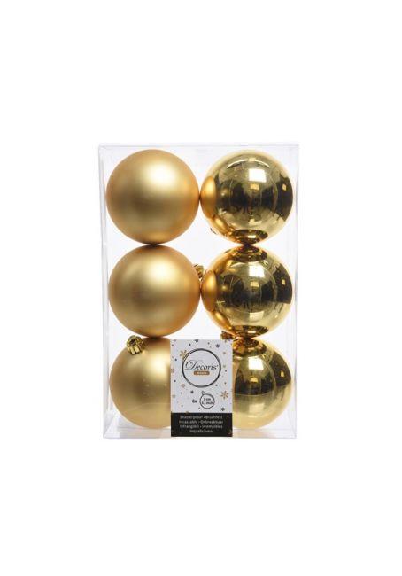 Набор пластиковых шаров золотые 8 см, 6 шт