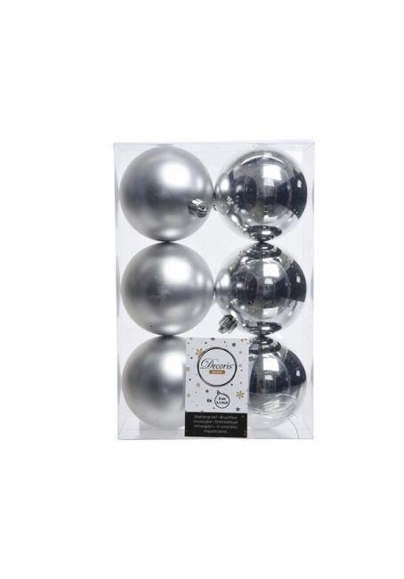 Набор пластиковых шаров серебряные 8 см, 6 шт