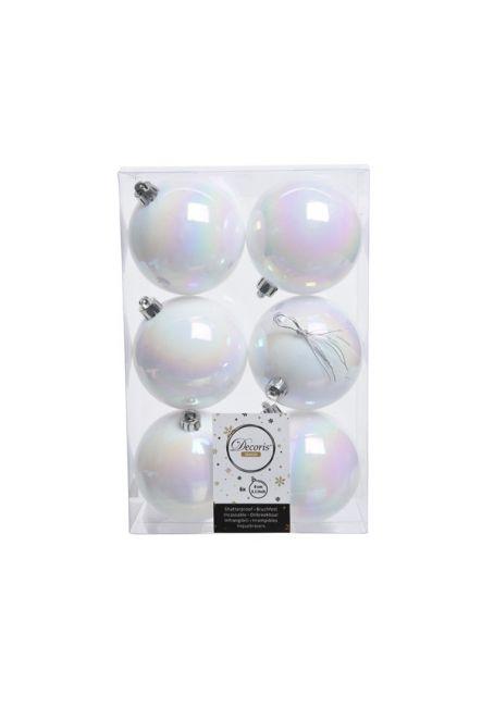 Набор пластиковых шаров перламутровые 8 см, 6 шт