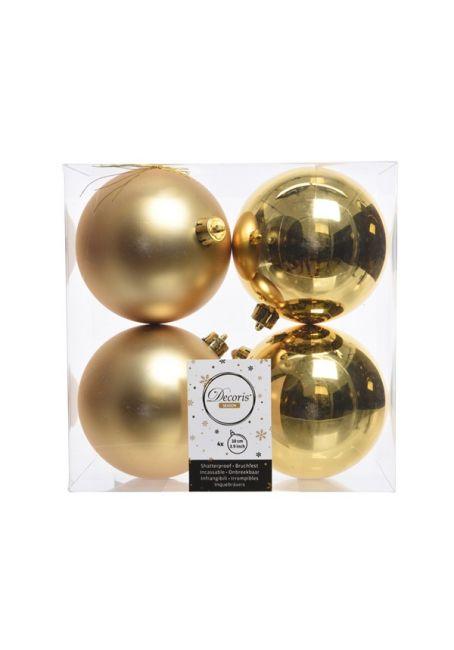 Набор пластиковых шаров золотые 10 см, 4 шт