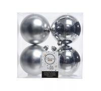 Набор пластиковых шаров серебряные 10 см, 4 шт