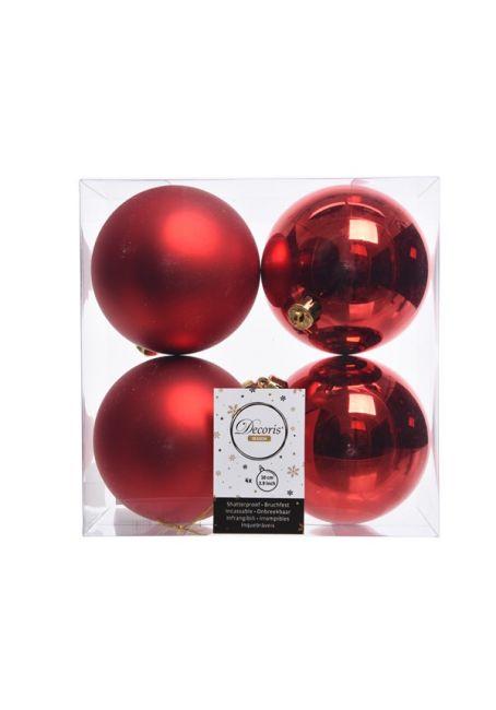 Набор пластиковых шаров красные 10 см, 4 шт