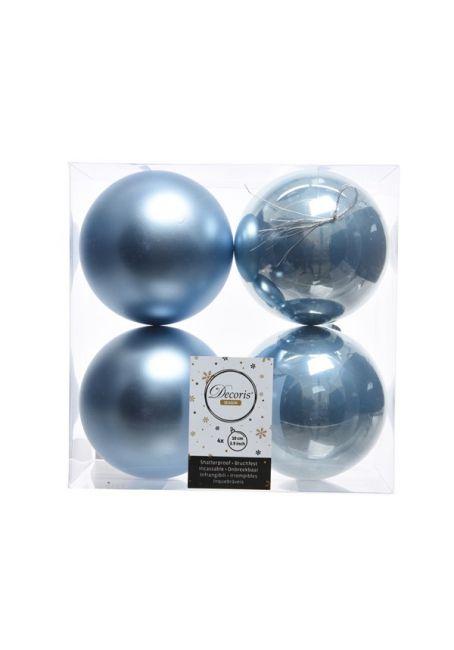 Набор пластиковых шаров голубые 10 см, 4 шт