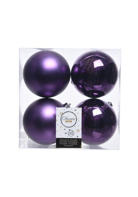 Набор пластиковых шаров фиолетовые 10 см, 4 шт