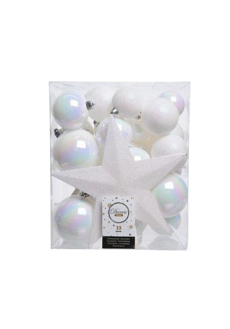 Набор пластиковых шаров с верхушкой 33 шт перламутровый
