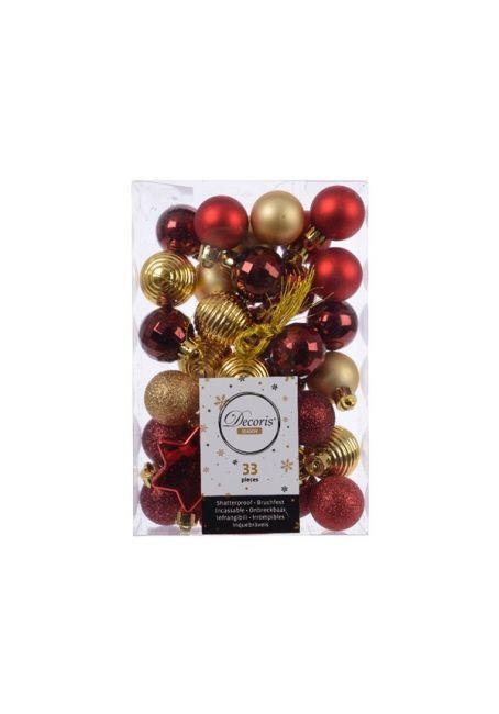 Набор пластиковых шаров 3 см, 33 шт, красный, золотой