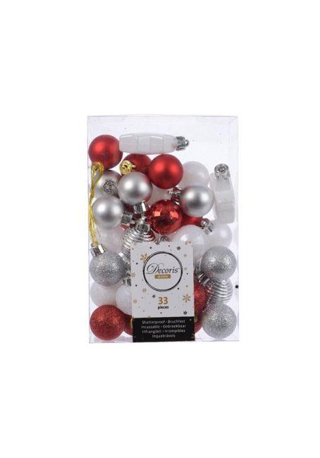Набор пластиковых шаров 3 см, 33 шт, красный, белый