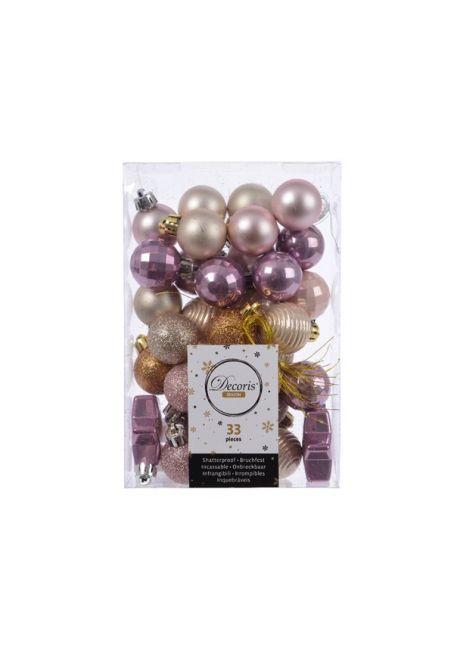Набор пластиковых шаров 3 см, 33 шт, сиреневый, жемчужный