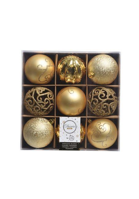 Набор декорированных пластиковых шаров 8см, 9шт, золотой