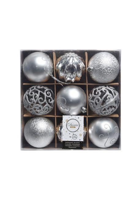 Набор декорированных пластиковых шаров 8см, 9шт, серебряный