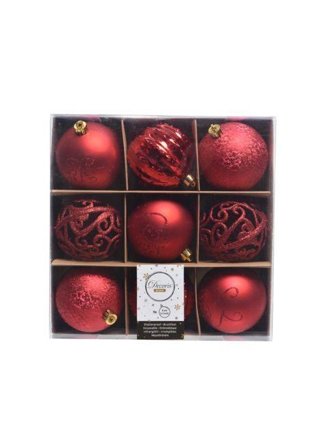 Набор декорированных пластиковых шаров 8см, 9шт, красный