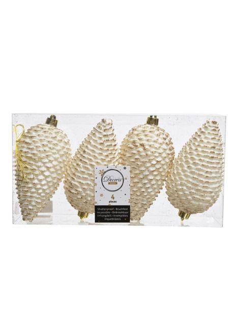 Набор пластиковых шишек бело-золотой