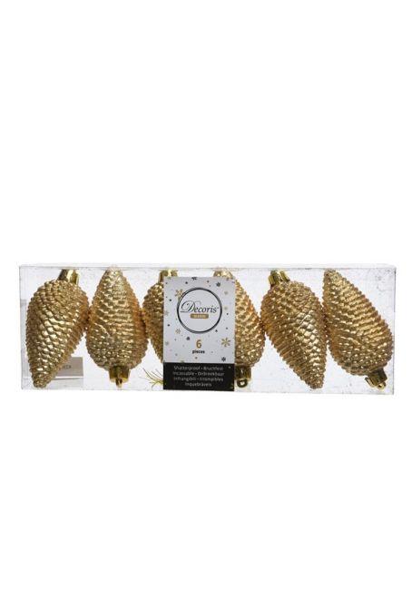 Набор пластиковых шишек золотой, 8 см