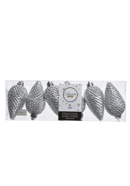 Набор пластиковых шишек серебряный, 8 см