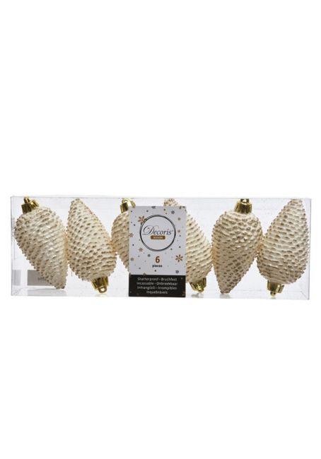 Набор пластиковых шишек бело-золотой, 8 см