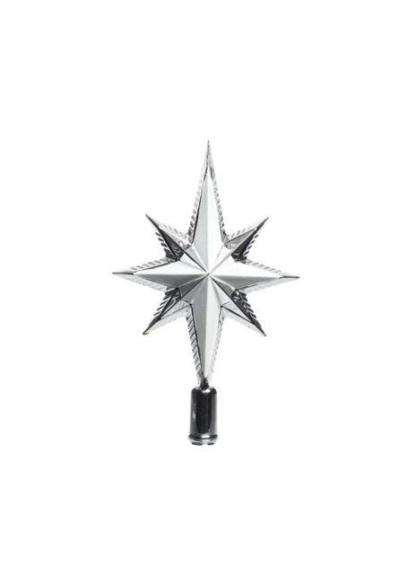 Пластиковая верхушка на елку с глиттером 25см серебряная
