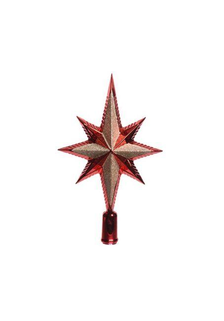 Пластиковая верхушка на елку с глиттером 25см красная
