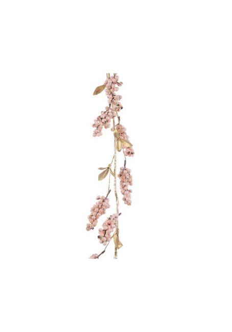 Ветка декоративная с ягодами, розовая