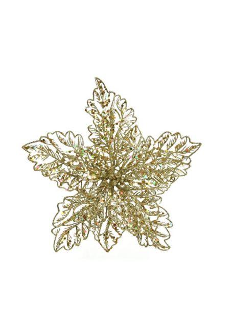 Цветок пуансетии ажурный на прищепке, золотой