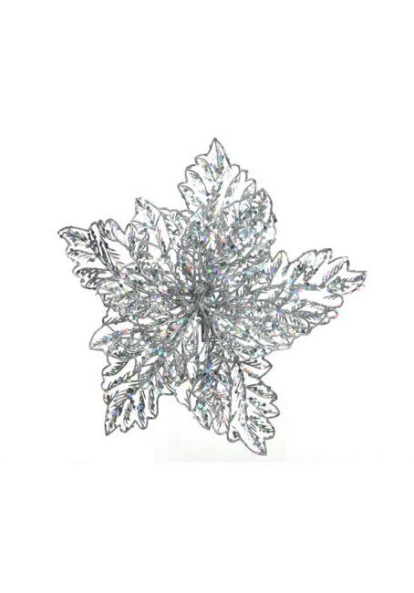 Цветок пуансетии ажурный на прищепке, серебряный