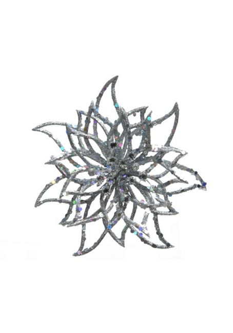 "Цветок пуансетии ""Контур"" на прищепке, серебряный"