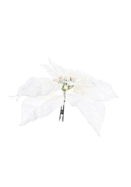 Цветок пуансетии шелковый на прищепке