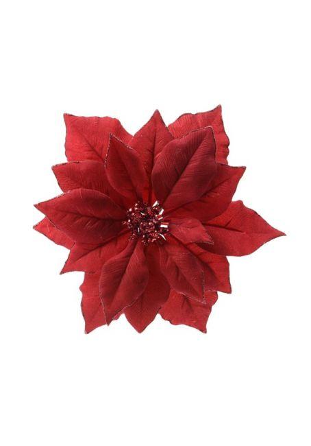 Цветок пуансетии красный на прищепке