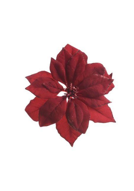 Цветок пуансетии бордовый на прищепке