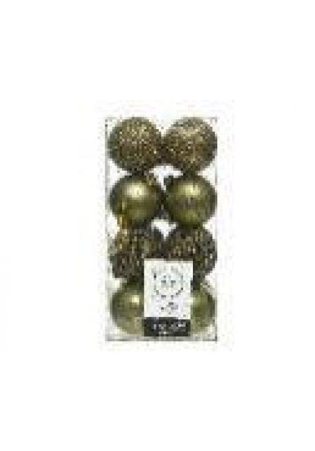 Набор пластиковых шаров 6 см, 16 шт (зеленый мох)
