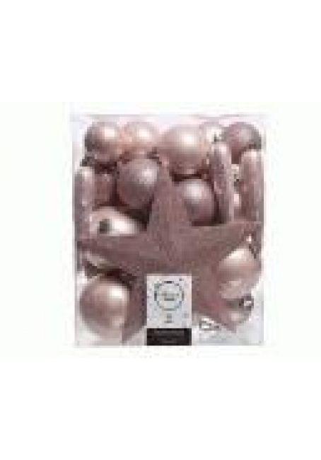 Набор пластиковых шаров с верхушкой 33 шт розовый