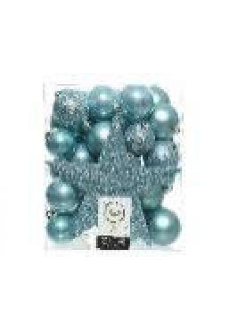 Набор пластиковых шаров с верхушкой 33 шт (холодно-голубой)