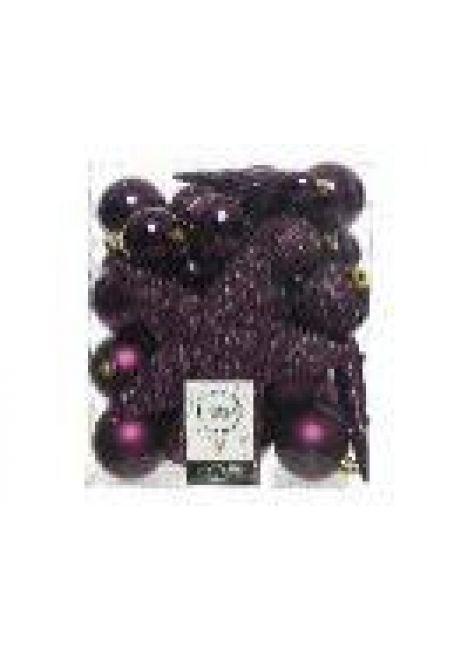 Набор пластиковых шаров с верхушкой 33 шт (королевский пурпурный)