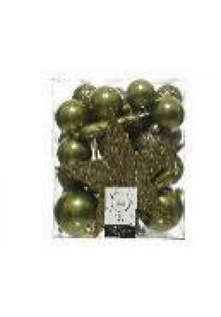 Набор пластиковых шаров с верхушкой 33 шт (зеленый мох)