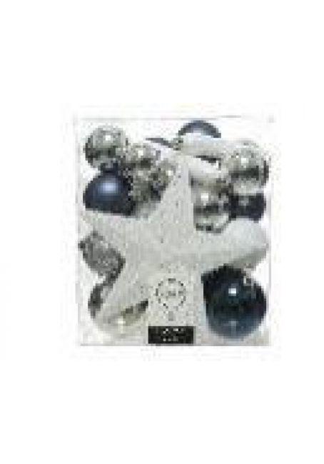Набор пластиковых шаров с верхушкой 33 шт (серебряный, синий, белый)