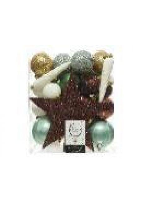 Набор пластиковых шаров с верхушкой 33 шт (коричневый, зеленый, серебряный, белый)