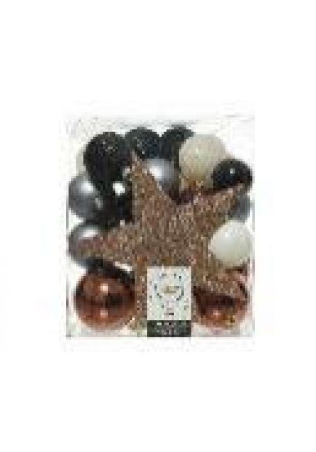 Набор пластиковых шаров с верхушкой 33 шт (черный, белый, коричневый)