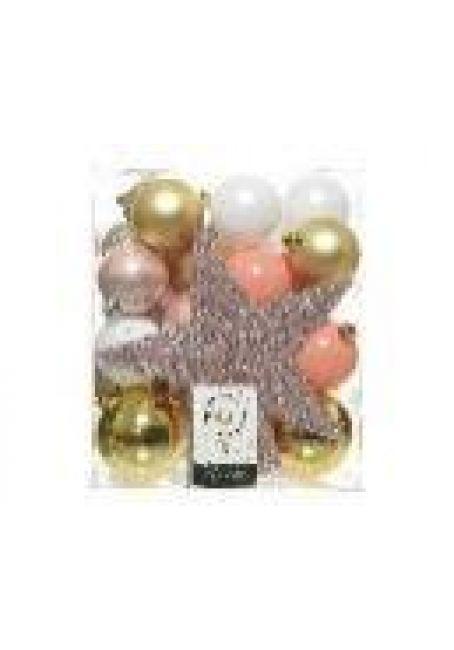 Набор пластиковых шаров с верхушкой 33 шт (золотой, розовый, белый)