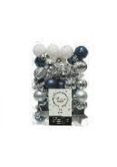 Набор пластиковых шаров и звездочек 33 шт (синий, серебряный, белый)