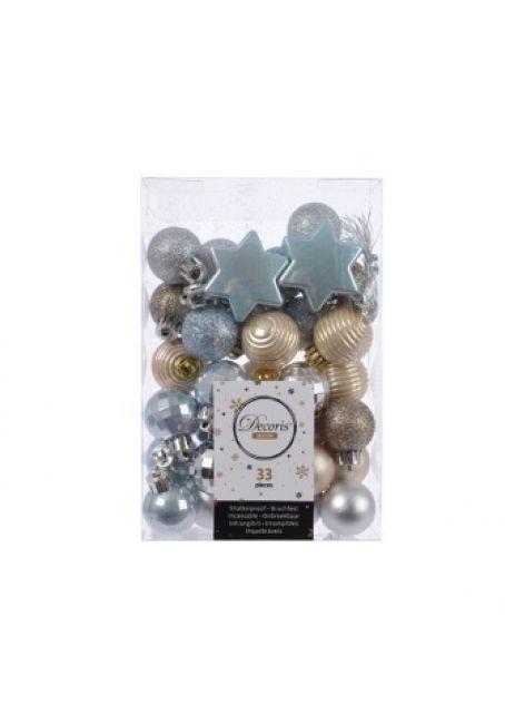 Набор пластиковых шаров и звездочек 33 шт (золотой, серебряный)