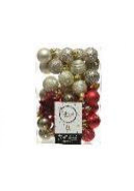 Набор пластиковых шаров и звездочек 33 шт (серебряный, перламутровый, красный)